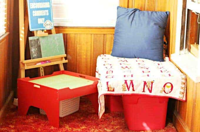 Reading nook in playroom area