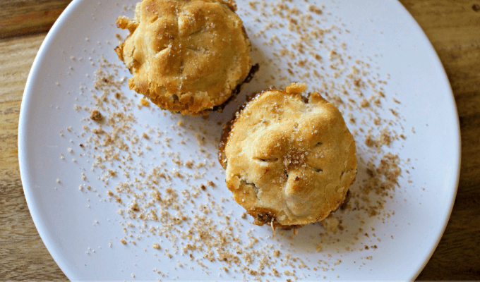 Mini Apple pie bites made with only five ingredients. Great size for kids and they can help make them, plus a great recipe to have on hand when you don't have many apples.