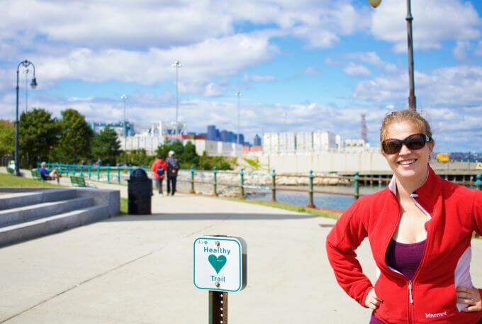 mom walking the healthy trail at Castle Island in Boston to stay and get fit