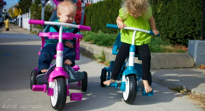 Going on a family walk with baby and toddler on trikes