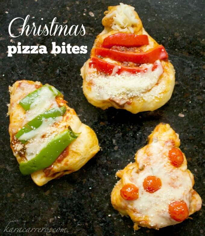 Mini Christmas pizza bites perfect for making Christmas breakfast, snacks, or party bites at your holiday festivities.