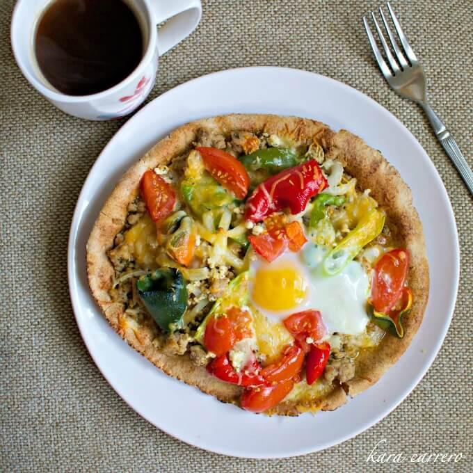 Quick and easy easy pita bread pizza recipe for a brunch or unique breakfast idea.