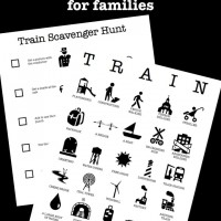 Printable train bingo and scavenger hunt games for kids and families traveling on Amtrak and other train services.