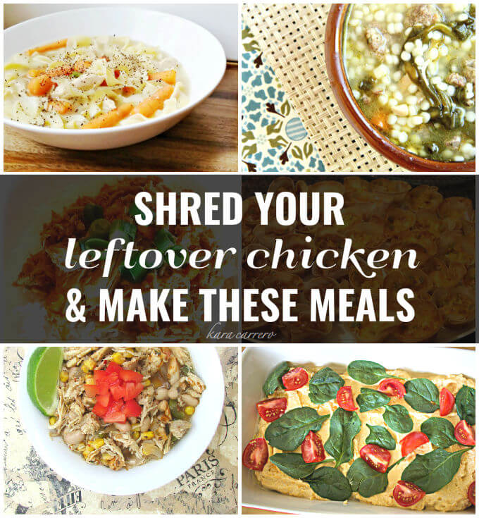 Simple leftover chicken recipes to use after you shred your rotisserie chicken or turkey feast. Easy to make a tasty for all.