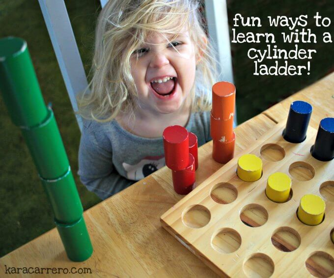Fun and unique ways of learning with a Montessori knobless cylinder ladder board