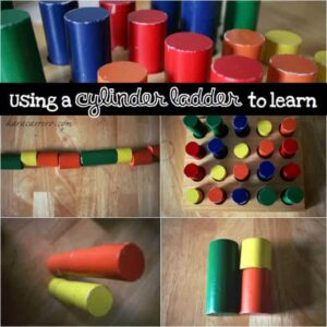 Ways to utlize a Montessori Cylinder ladder toy for learning experiences. Similar to knobless cylinders, but learn the difference.