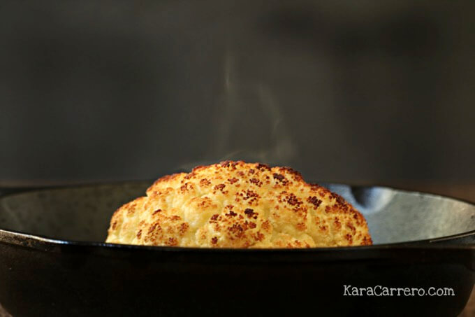 steamy oven roasted cauliflower