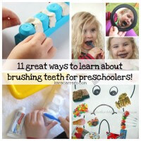 11 fun activities to teach about brushing teeth and dental health. Perfect as a preschool or tot school unit.
