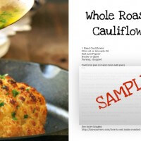 Printable roasted cauliflower recipe card