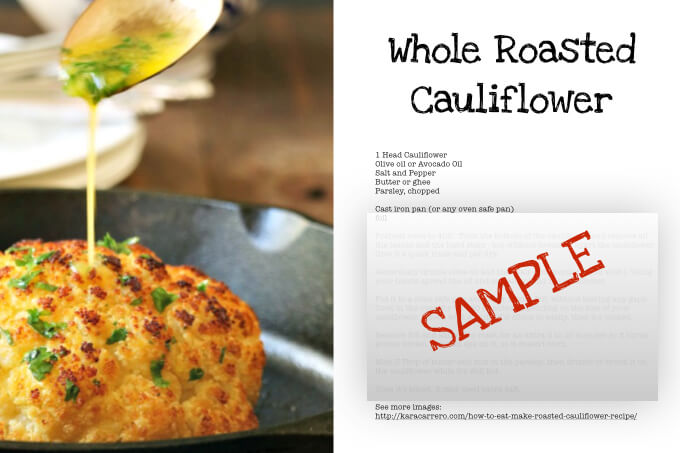 Printable roasted cauliflower recipe card
