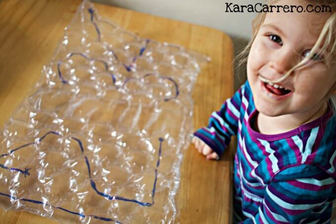 Writing numbers on bubble wrap