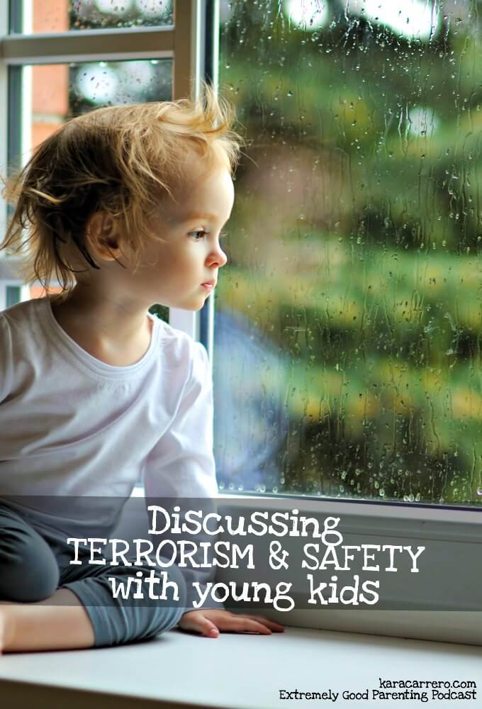 Explaining terrorism to young kids, helping ease their fears and anxieties, and working on setting safety measures they can understand.