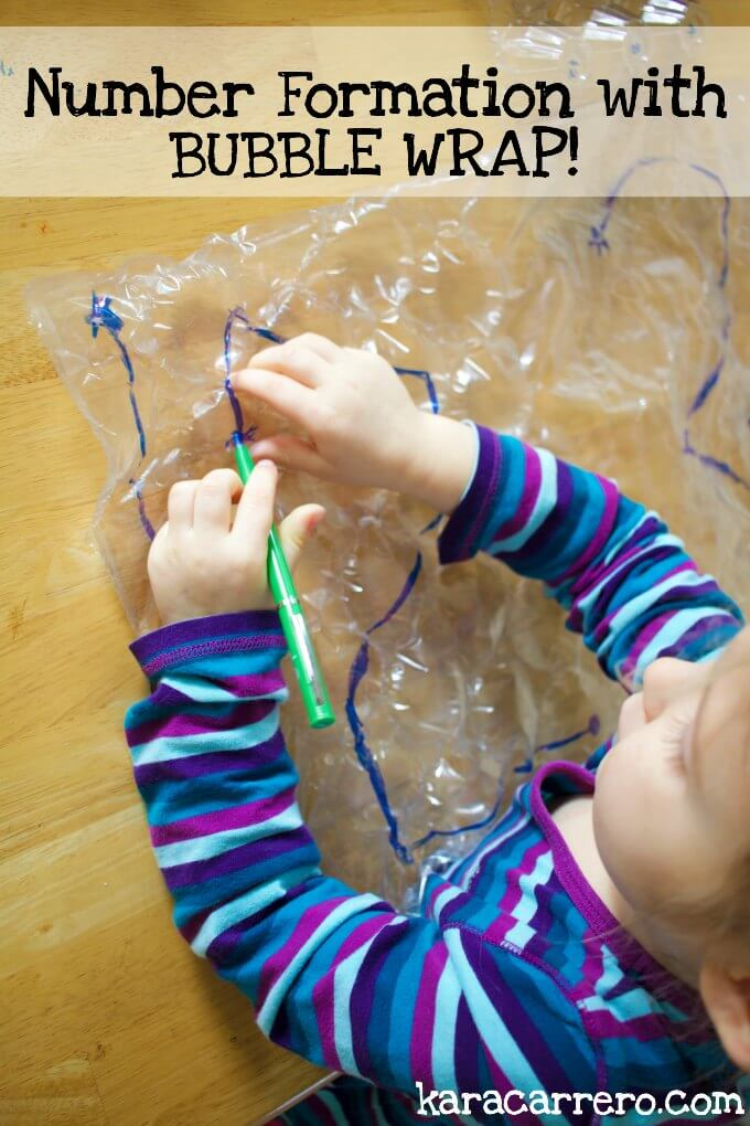How to teach number formation and work on fine motor skills by using bubble wrap.