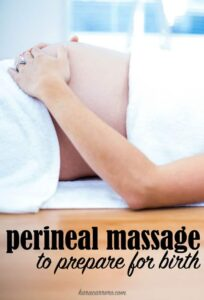 The benefits of perineal massage for birth and how to do it by yourself and with a spouse or partner.