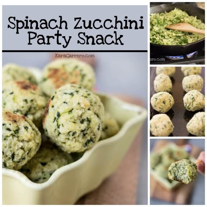 Easy to make spinach zucchini party snack bites