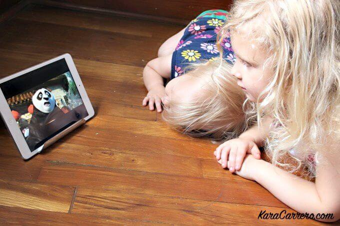 toddler and preschooler watching kung fu panda 3