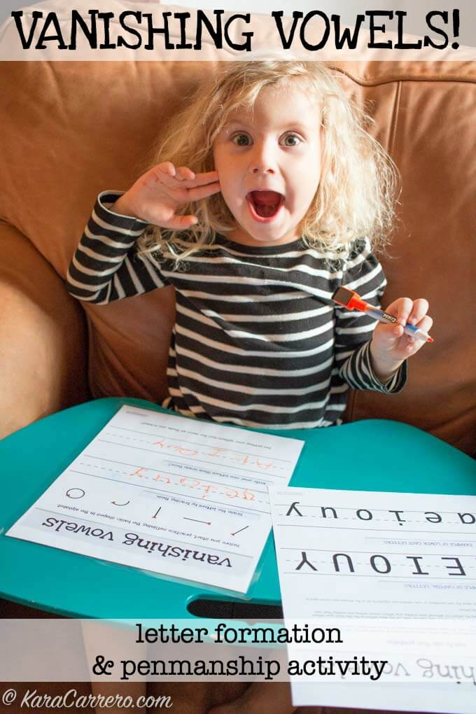 Improving and introducing proper penmanship through the vanishing vowels activity. Learn how and why to use vowels to teach proper strokes in forming and writing the alphabet.