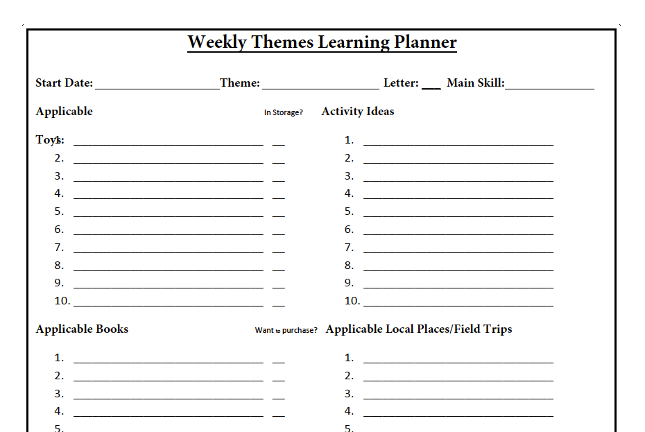 Weekly Themes Learning Planner
