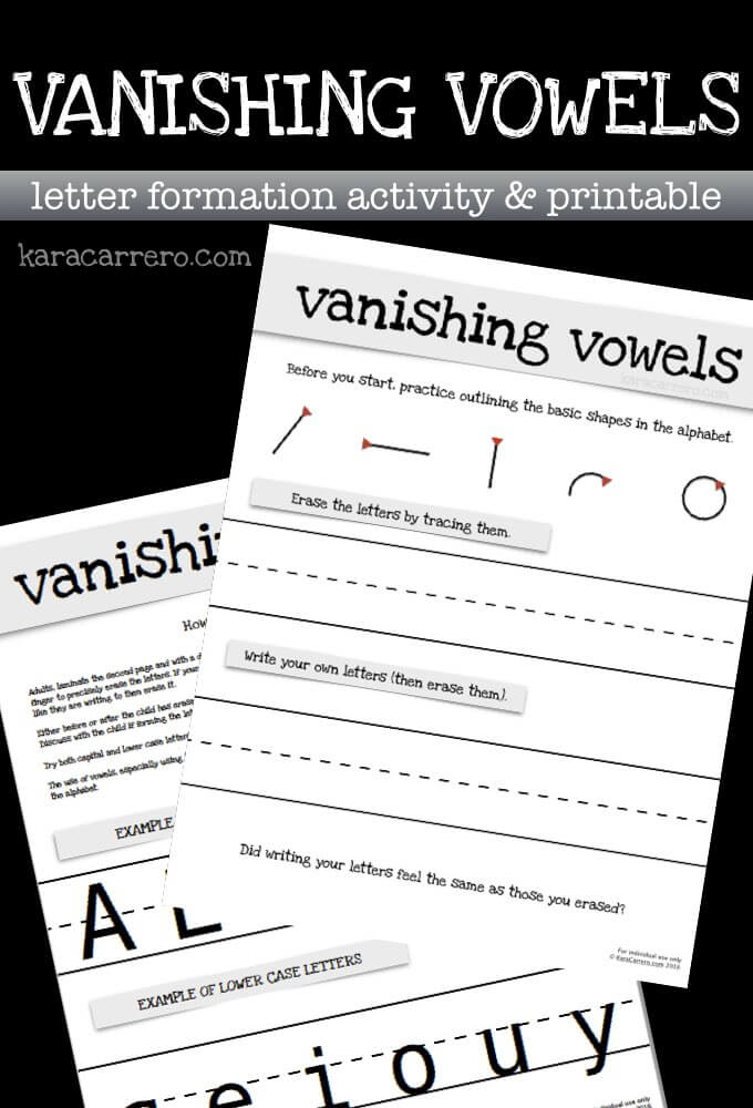 Vanishing Vowels letter formation printable pack.