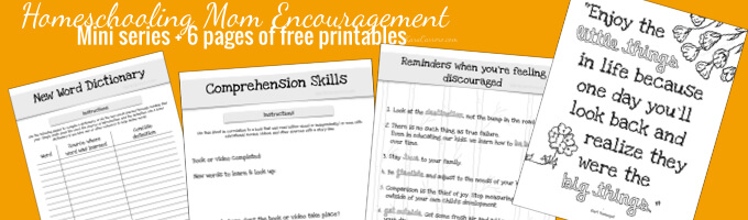Homeschooling mom encouragement series - free printables and newsletter