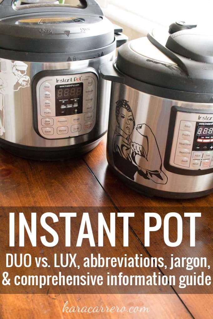 Instant Pot Beginner's Guide. Abbreviations, jargon, and important settings to know and understand before plugging in your electric pressure cooker. Do you know why cooking under pressure is better or what the difference between the IP DUO and LUX are? This goes through all the information you need to know.