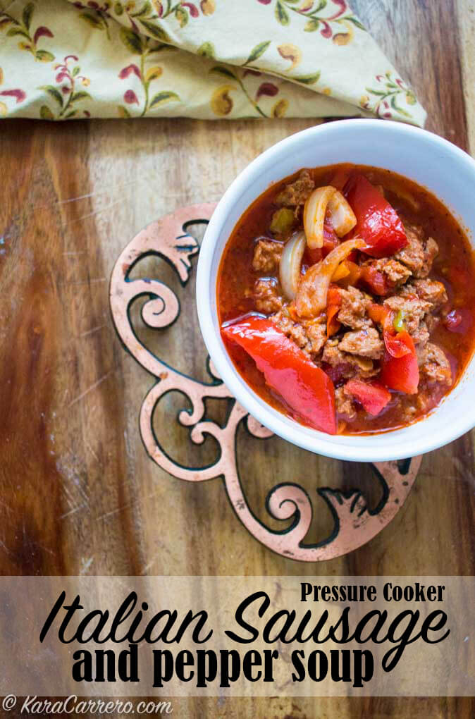 Easy last minute Italian sausage dinner idea using the instant pot or pressure cooker! Hearty and delicious with red peppers, onions, and savory spices.