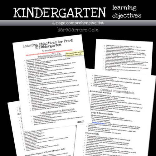 Kindergarten Learning Objectives and Outcomes for the homeschool or traditional learning classroom school year