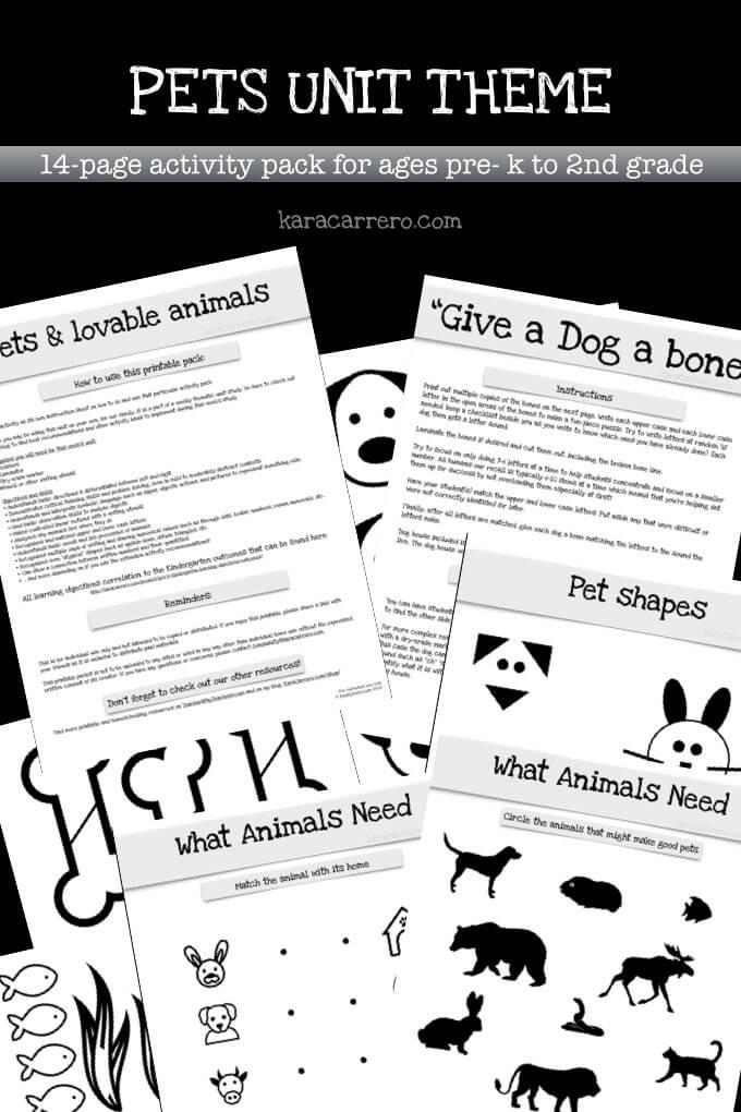 Pets Unit theme for kingergarten through 2nd grade.001