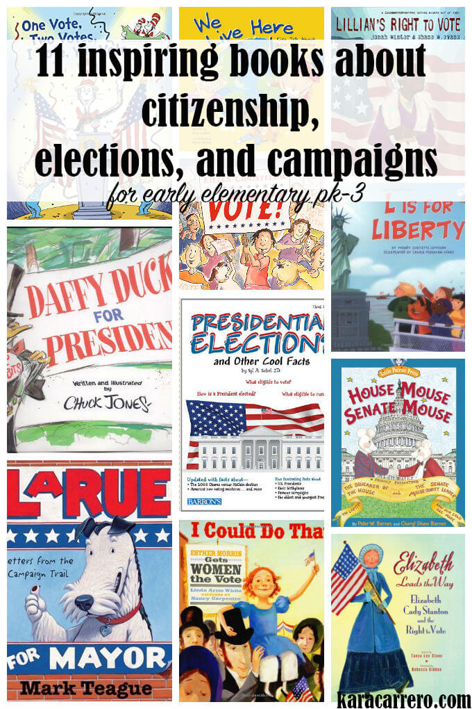 Election and voting themed book list for elementary, kindergarten, and preschool readers. Discover what each book teaches about citizenship, campaigns, and elections.