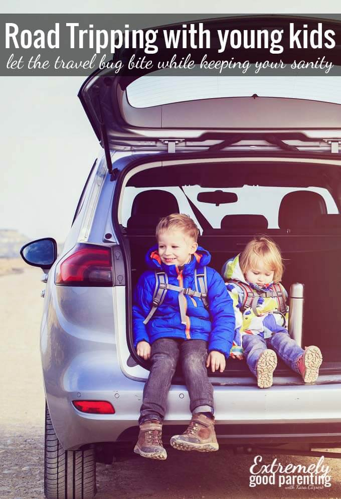 "Expert advice on how to road trip with young kids in tow. A guest post from Meegs at ""A New Day"""