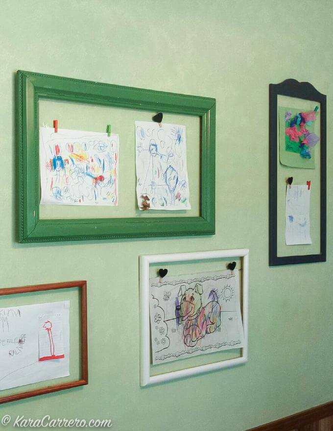 Easy Interchangeable art wall to display drawings from kids & grandkids