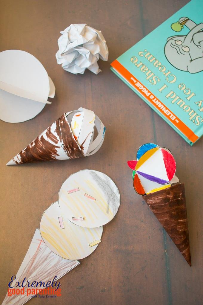 2D vs 3D shapes, friendship ice cream building activity