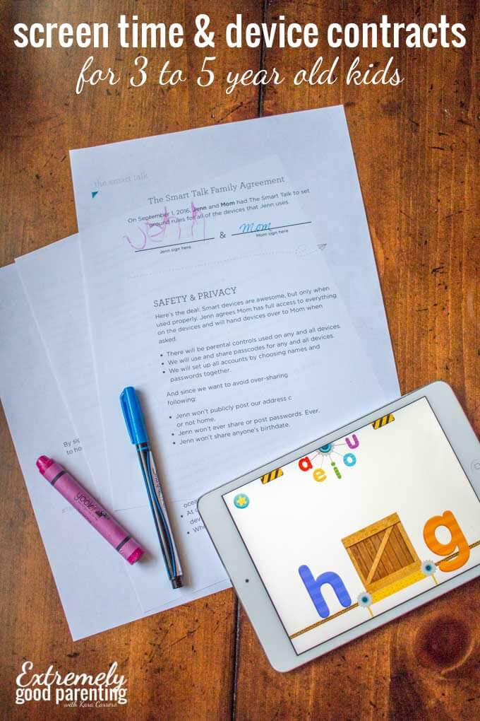 How & why sign a device and screen time contract with young kids.
