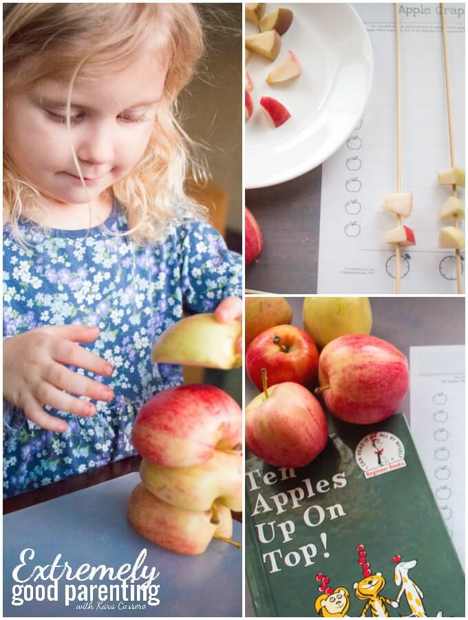 A hands on approach to graphing with apples. Great for tactile and kinesthetic learners and to use as an expenasion activity for Ten Apples Up On Top