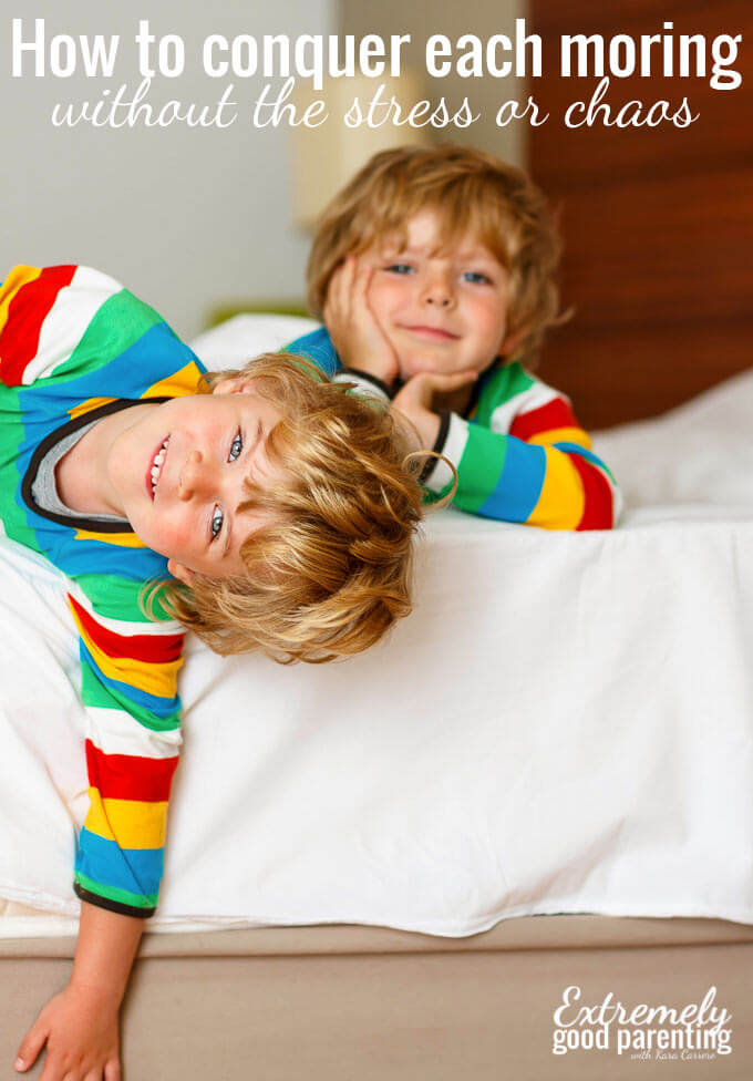 How to take the stress and chaos out of mornings with kids when you're trying to get out the door. 7 easy ideas to implement for the whole family.