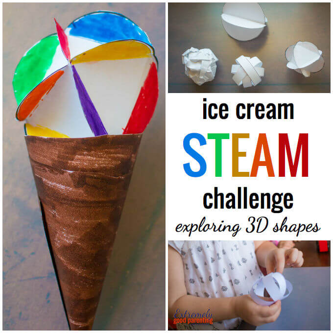 "STEAM book extension activity 2D and 3D shapes to build ice cream cones with friends. (Mo Willems, ""Should I Share My Ice Cream?"")"