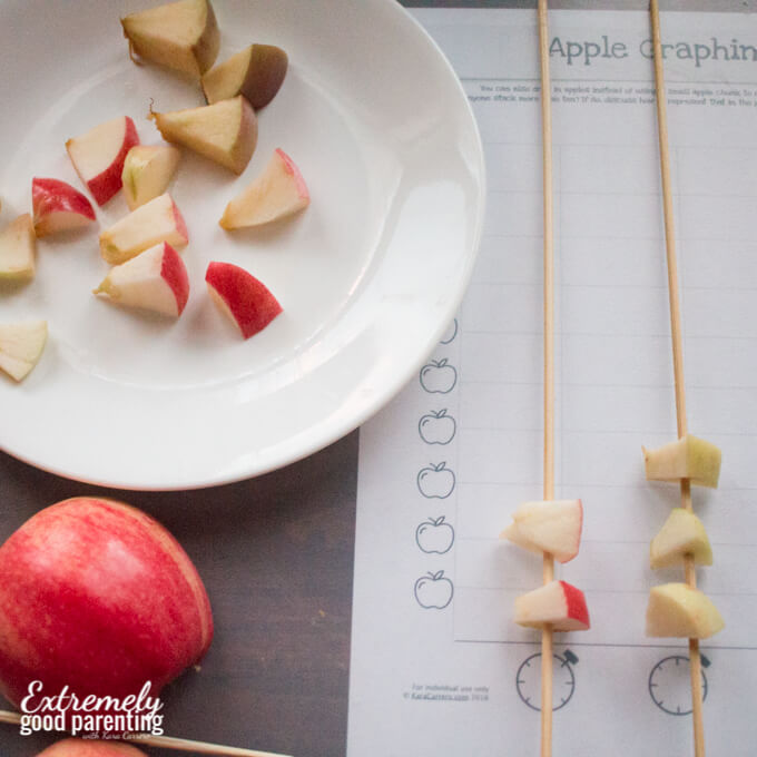 Hands on tactile graphing activity using apples and skewers. Used as an extension activity with the book Ten Apples Up On Top