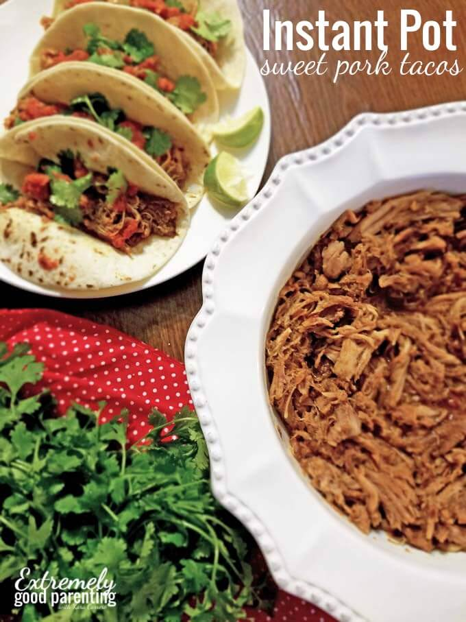 How to make sweet pork tacos in an instant pot electric pressure cooker.