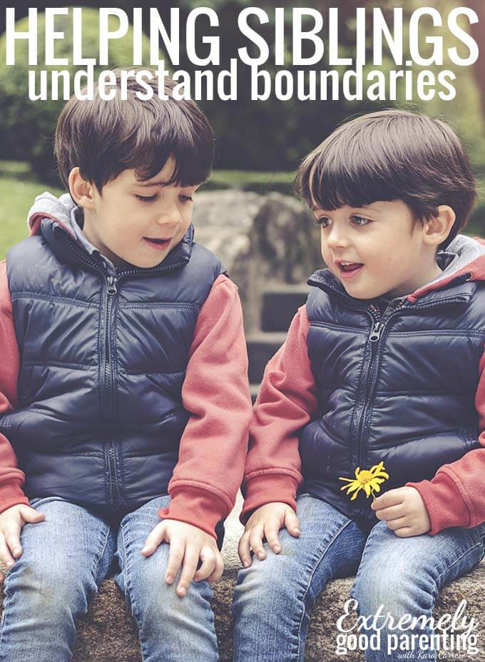 Setting boundaries between kids and helping them understand personal space. Tools for helping siblings get along through conflict resolution strategies.