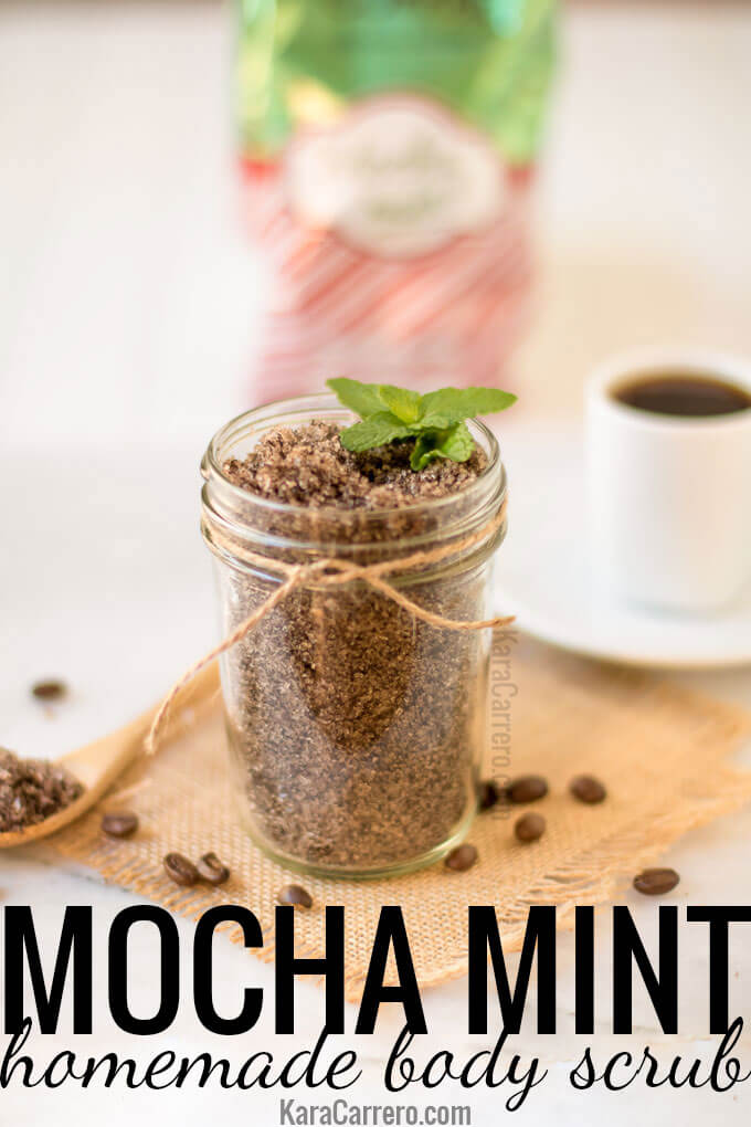 How to make a a mocha mint inspired coffee body scrub. Great for a gift or to use on your own spa day.