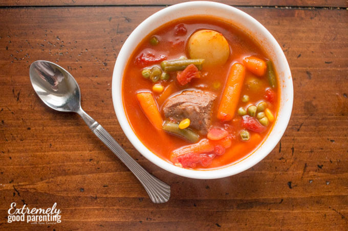 Nourishing Vegetable Beef Stew, on the table in under 30 minutes.