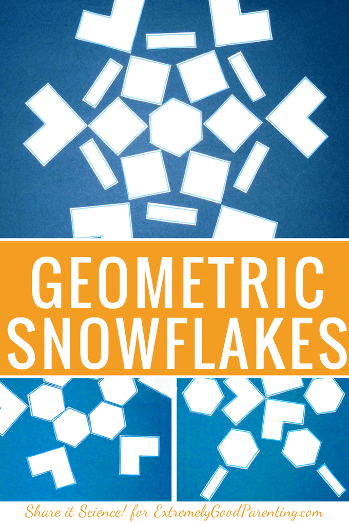 How to teach kids about snow and geomtric snowflakes with this simple early geometry and math craft for kids