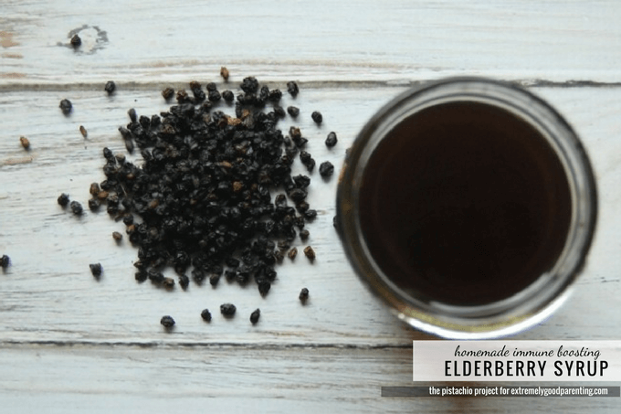 Bolstering the family's immune system with homemade elderberry syrup
