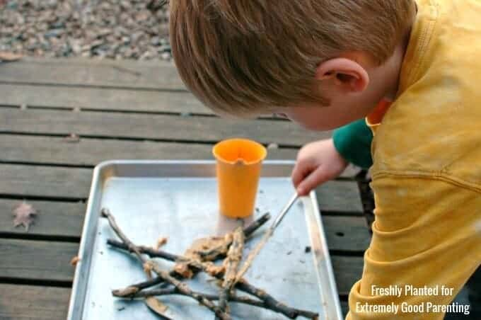 Making twig outdoor nature ornaments