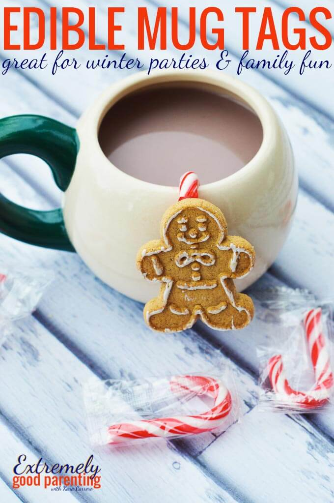 Cookie mug hanger edible craft and party drink tag idea for New Year's and Christmas parties. A great edible creation for kids to help make!