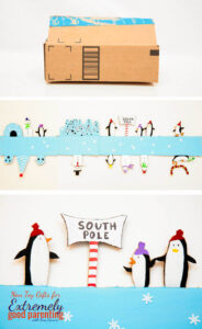 Use old Amazon boxes to make fun cardboard small world scenes like this South Pole and penguin craft.