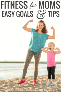 Feasible fitness and health goals for busy moms with young children. Basic tips and help to get you started on a exercise routine even with kids around.