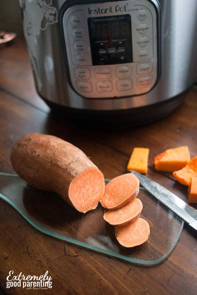 Butternut squash and sweet potato hash in the electric pressure cooker