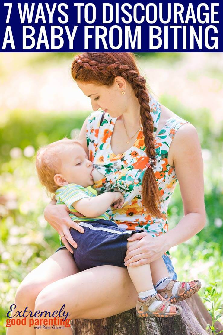 How to discourage a baby from biting or clamping down while breastfeeding. 7 tried and true method from other moms that actually work and don't include flicking or mean measures.