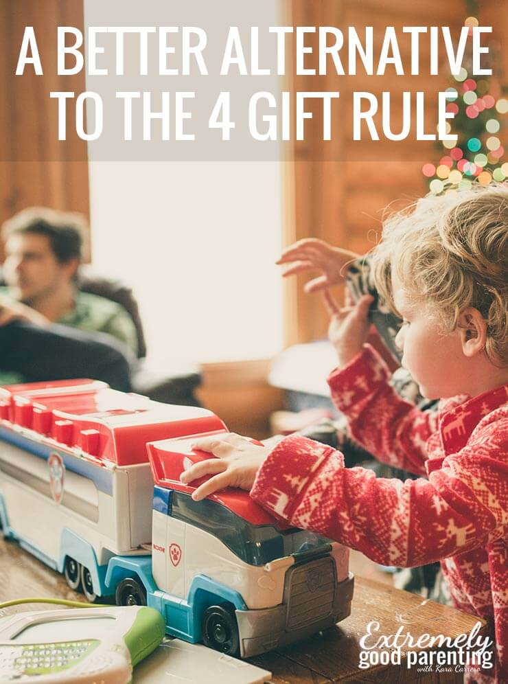 an alternative to the 4 gift rule that cuts on expenses and actually teaches kids to